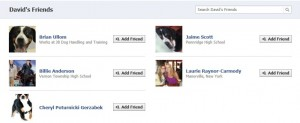 "The ""friends"" connected to the fake facebook account"